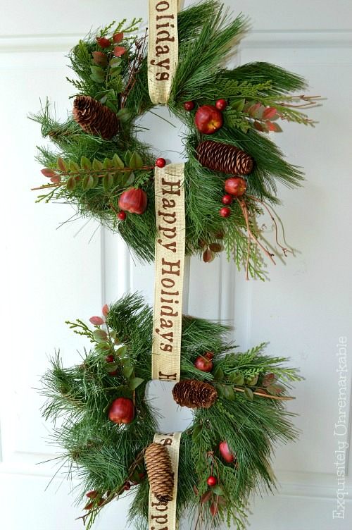 How to make a triple wreath for Christmas