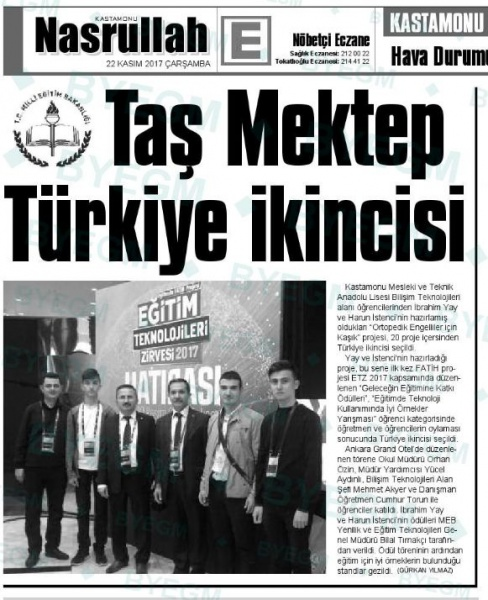 Taş Mektep Türkiye ikincisi. - Basında Harun İstenci