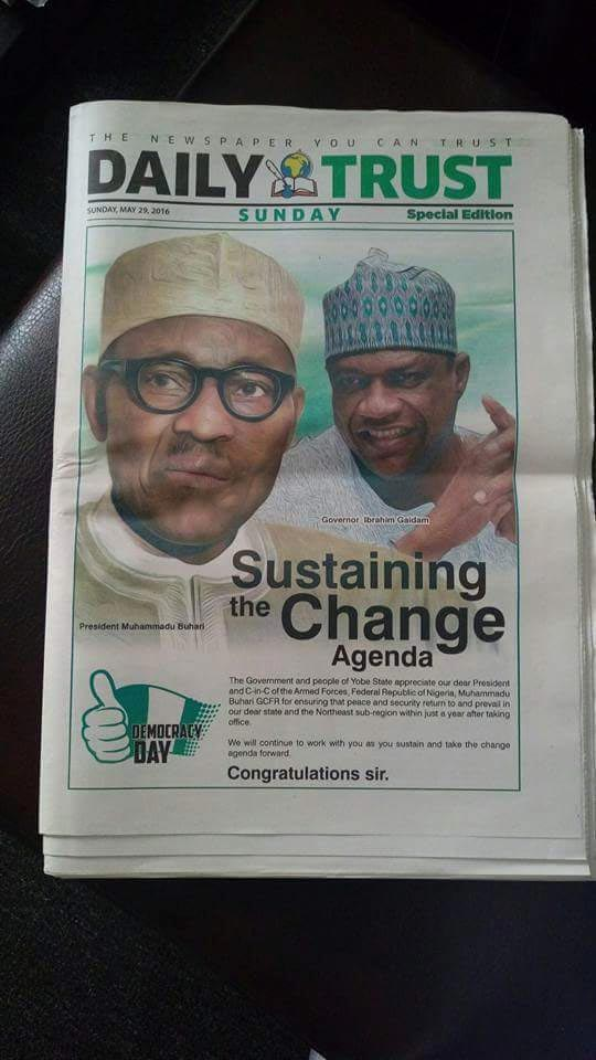 Photos: Yobe State governor splashes N18m on Buhari advert