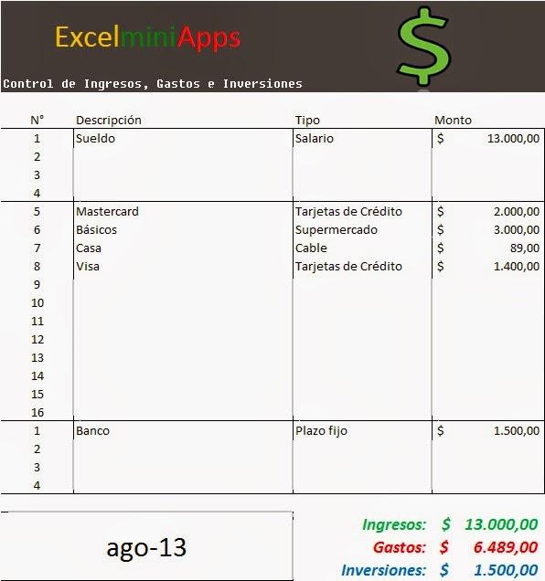 Mini Aplicaciones En Excel Control De Ingresos Y Egresos En Excel