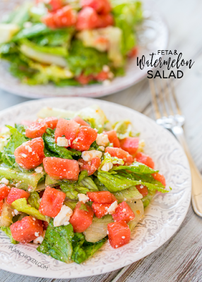 Feta and Watermelon Salad - CRAZY good salad recipe!!! I don't even like watermelon, and I LOVE this salad! You can make the dressing ahead of time and toss everything together when ready to serve. Great for dinner parties, potlucks and cookouts. One of my all-time favorite salad recipes! SO easy!!!