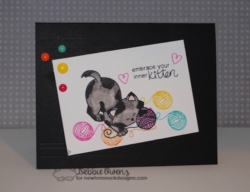 Cat and Yarn Card by Debbie Owens features Newton Unwinds by Newton's Nook Designs, #newtonsnook