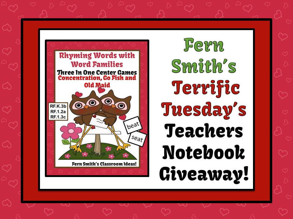 FREEBIE GIVEAWAYS Valentines Rhyming Words Word Families Center Games & Interactive Notebook Pages