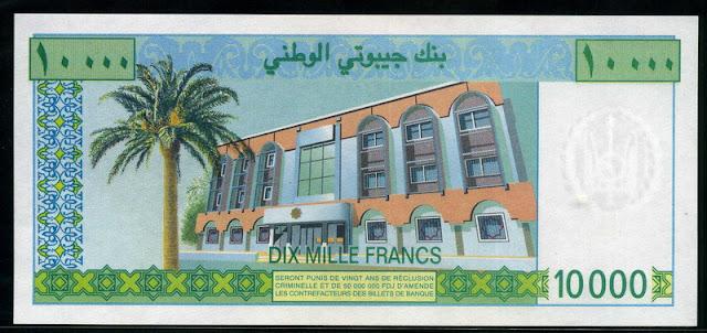Currency Djibouti 10000 Djiboutian franc banknote bill Bank of Djibouti