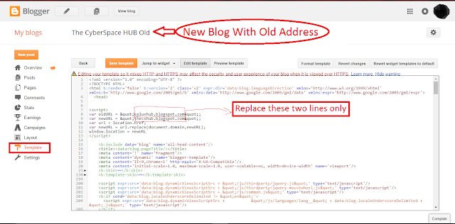 "Inserting Script in HTML of ""New Blog with Old address"""