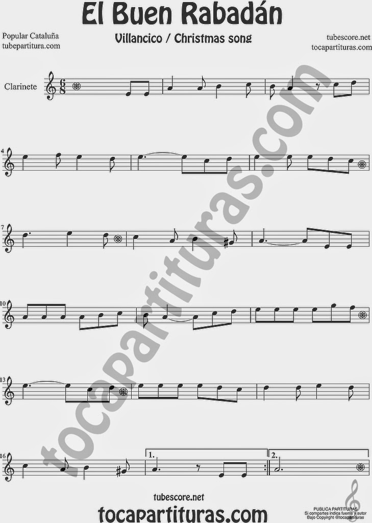 El Buen Rabadán Partitura de Clarinete Sheet Music for Clarinet Music Score Villancico Christmas Carol