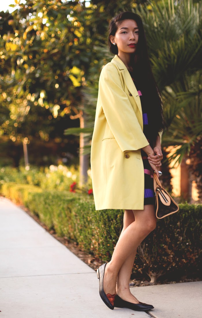 Stephanie Liu of Honey & Silk wearing Jill Stuart coat, Three of Something Atoned tunic, Opening Ceremony Julietta flats, and Louis Vuitton Popincourt bag
