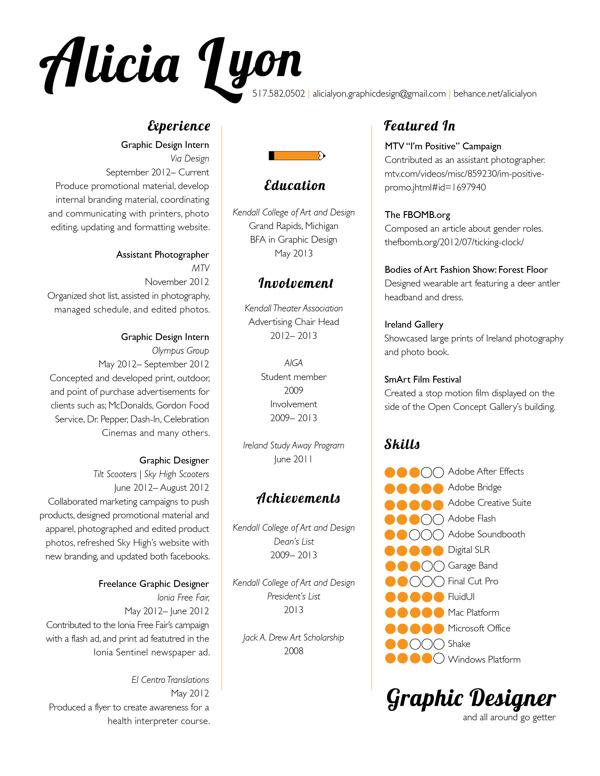 graphics design resume format