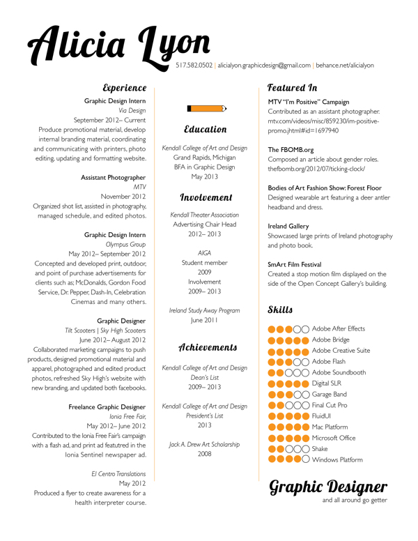 sample graphic designer resume template