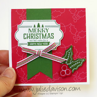 Stampin' Up! Labels to Love Christmas Quilt Christmas Card ~ 2017 Holiday Catalog ~ www.juliedavison.com
