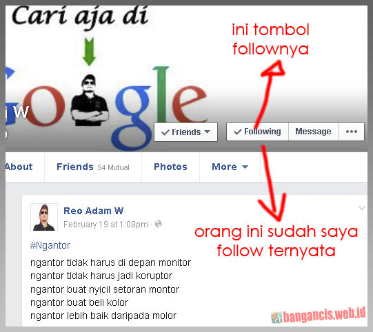 Fungsi Tombol Follow di Facebook