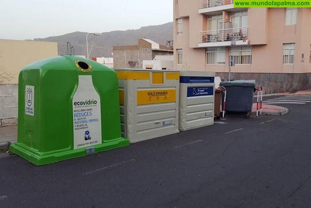 El Ayuntamiento de Los Llanos instala cuatro nuevas zonas de recogida selectiva de residuos en el barrio de La Montaña
