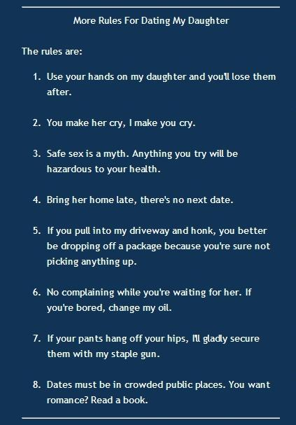 Seven rules for dating my daughter