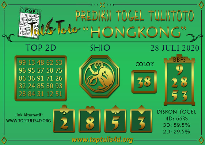 Prediksi Togel HONGKONG TULISTOTO 28 JULI 2020