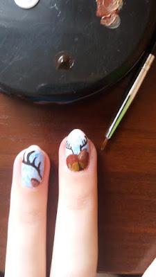 paznokcie-hybrydowe-krok-po-kroku-jak-zrobic-zdobienie-farba-akrylowa-inspiracje-pomysly-renifer