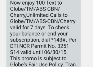7 Days Unlimited Call To Globe, TM, With 100 Text