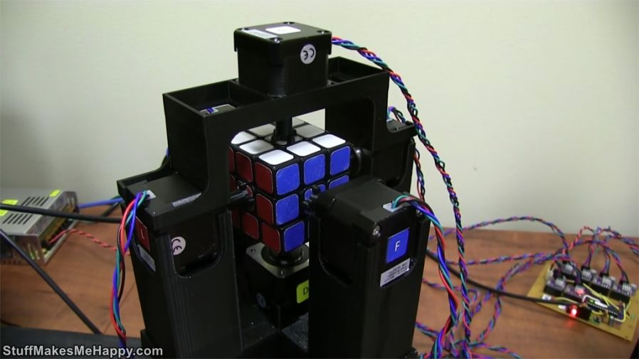 5. The robot collects the Rubik's Cube