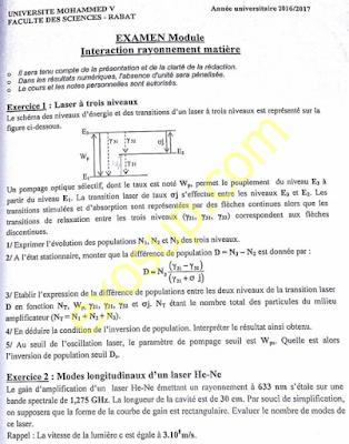 examen interaction rayonnement matière (physique des lasers et optique non linéaire) master apq pi s2 fsr 2016-2017
