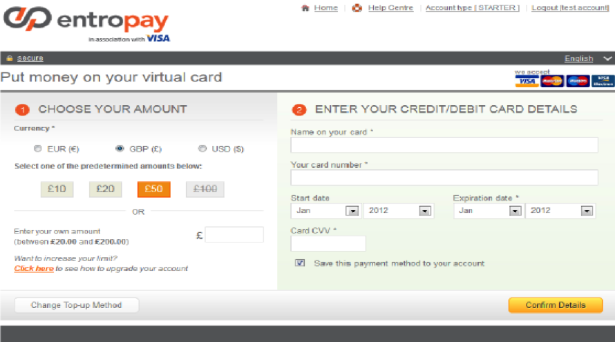 Entropay Account Virtual Card Screen