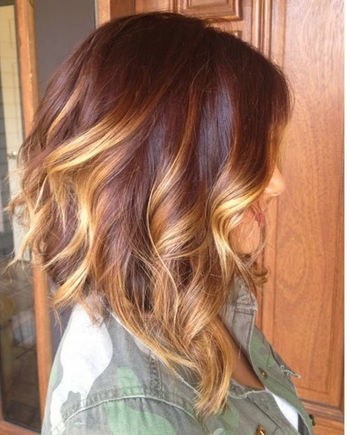 Long brunette a-line bob with balayage highlights and loose curls