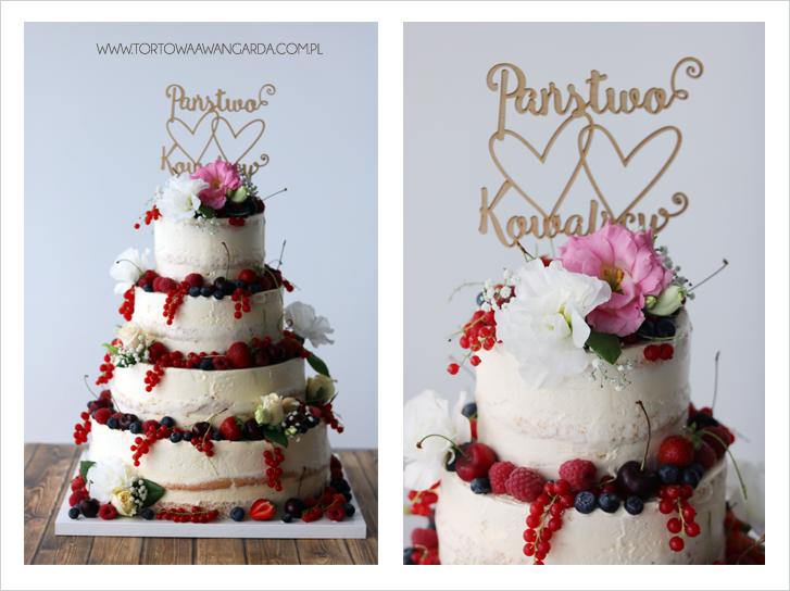 tort rustykalny naked cake z owocami cukiernia Warszawa z dostawą