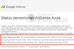 Di Tolak Google AdSense karena Konten Tidak Memadai?