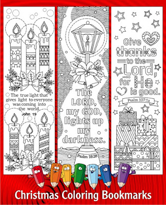 Christmas coloring bookmarks etsy