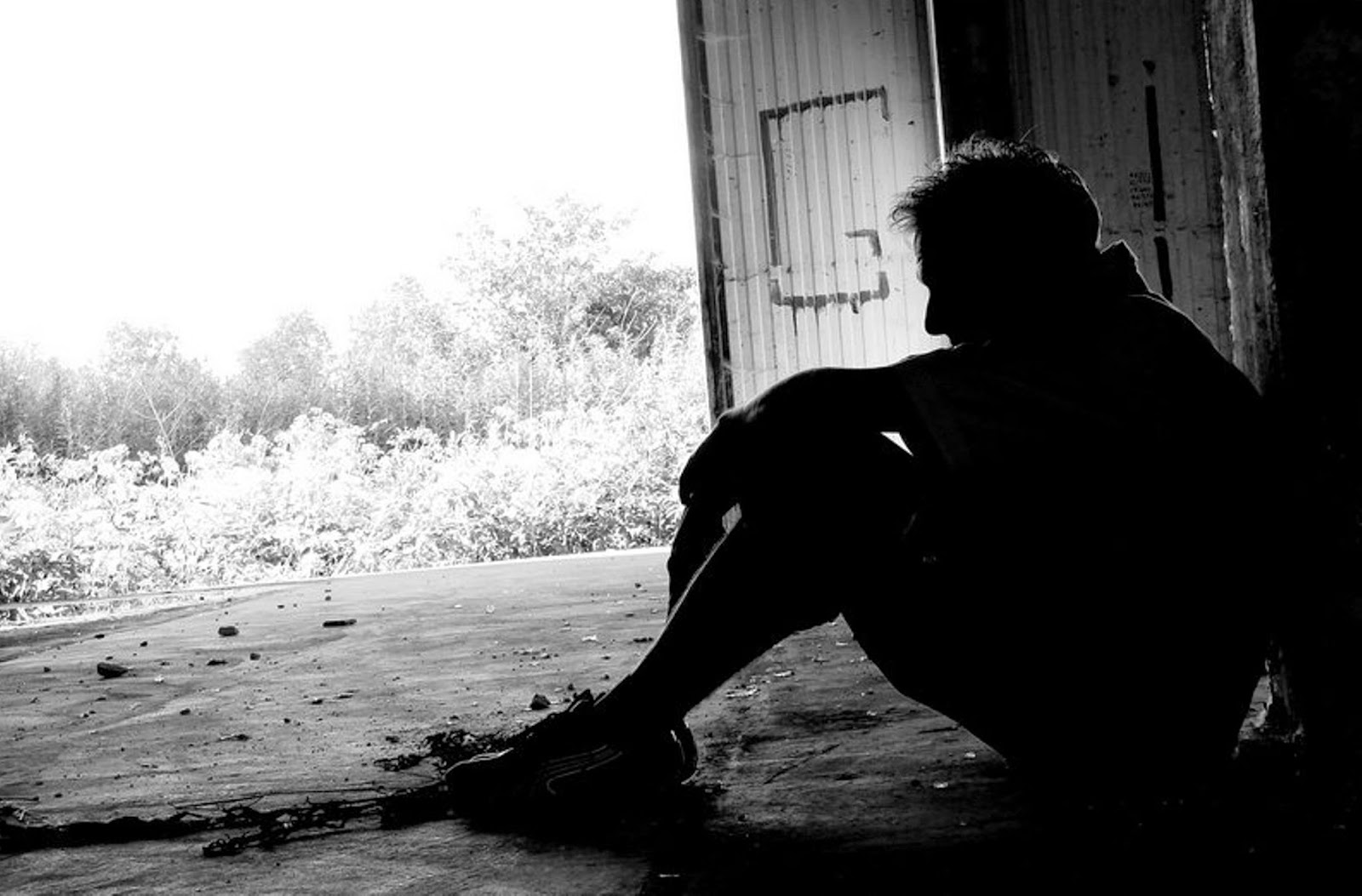 sad boy in love sitting black and white photo images
