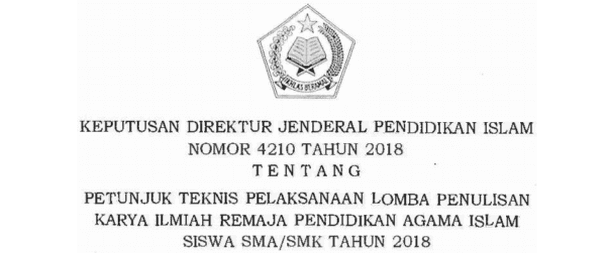 Juknis Lomba Penulisan Karya Ilmiah Remaja PAI Siswa SMA SMK Tahun 2018