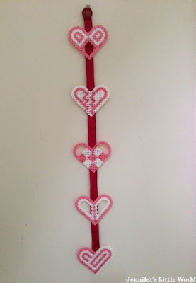 Hama bead hanging heart decoration