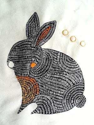Puppilalla,Gingiber, Thicket Fabric, star quilt, baby blanket, rabbit
