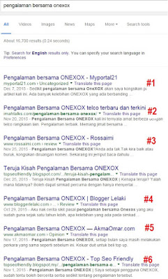 Menang Contest SEO Terbaik 2015, pengalaman bersama onexox
