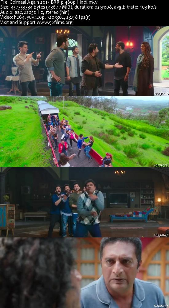 Golmaal Again 2017 BRRip 480p Hindi 400MB