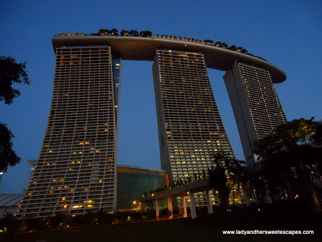 Marina Bay Sands Skypark dazzling in midnight blue sky