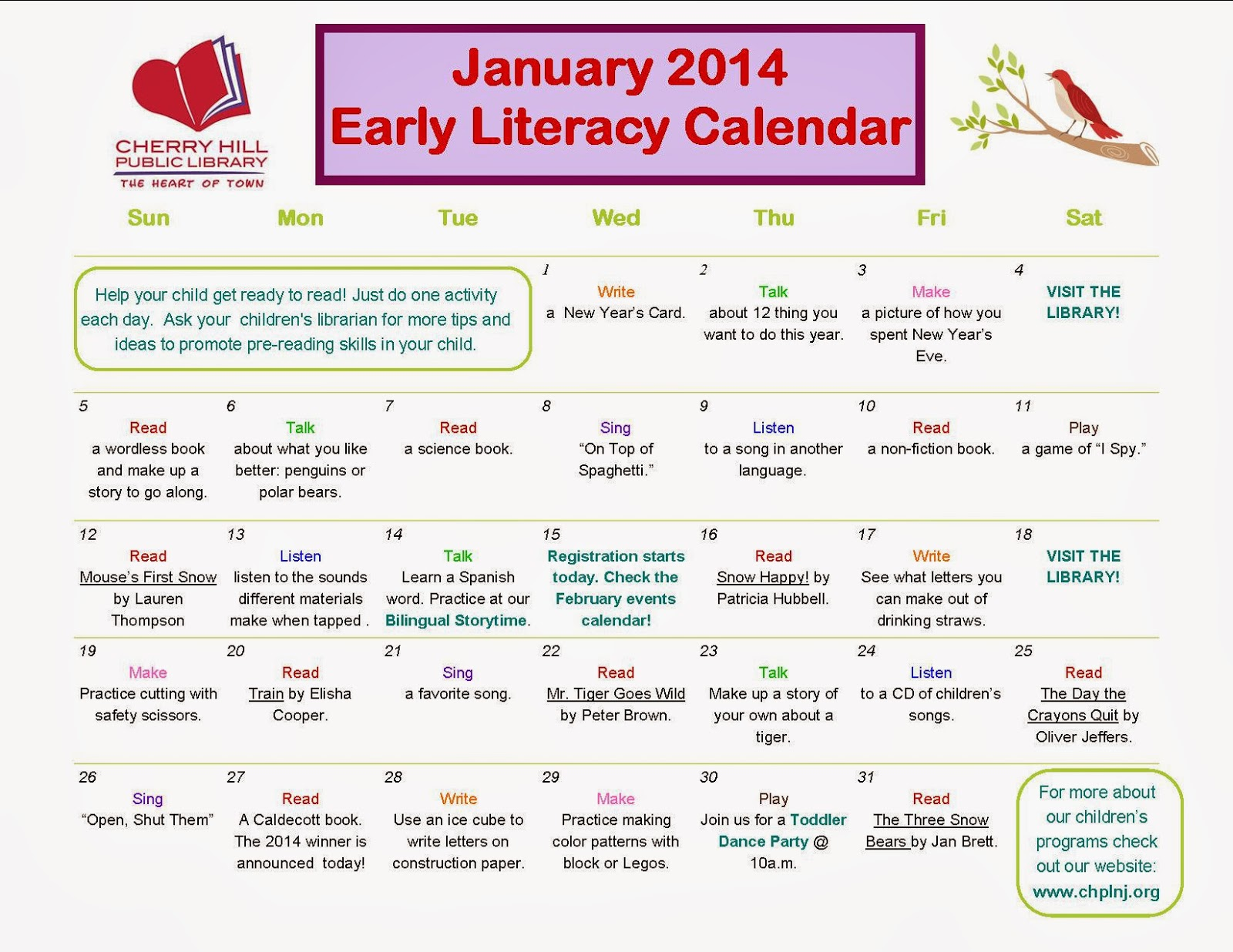 The Wild Rumpus January Early Literacy Calendar