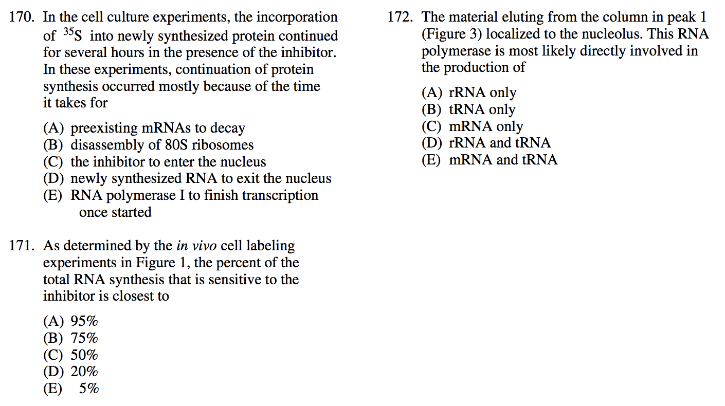Today question is from GRE Biochemistry, Cell and Molecular Biology practice  test. Show answer