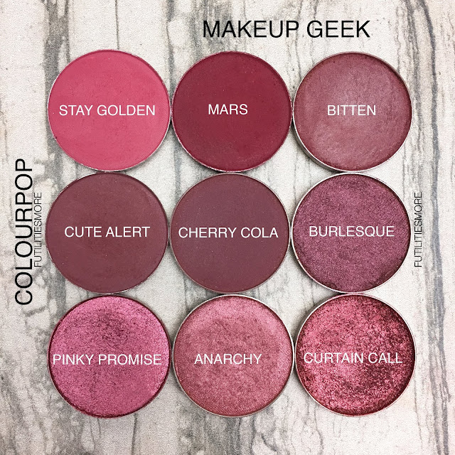 REDS AND BURGUNDIES/ Colourpop VS Makeup Geek, futilitiesmore, futilitiesandmore, futilities and more