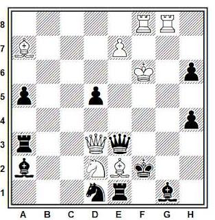 Problema de mate en 2 compuesto por Ferenc Bohm (3° Premio, Skakbladet 1931)