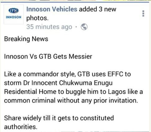 Innoson Vs GTBank: EFCC Arrests CEO In Enugu in Commando Style (Photos)