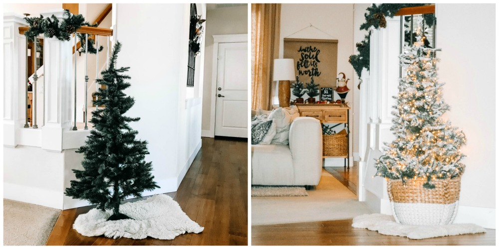 side by side of a flocked christmas tree