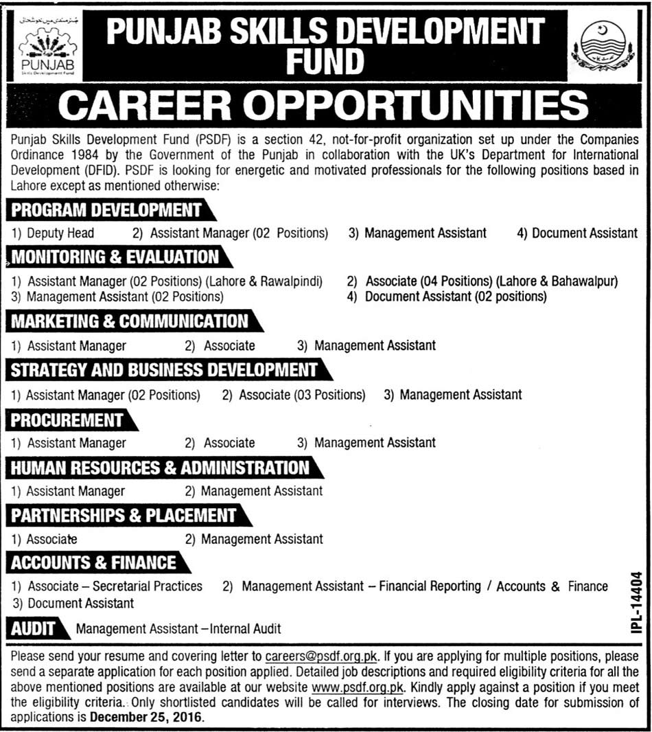 Careers in Punjab Skills Development Fund