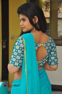Telugu Actress Alekhya Stills in Green Saree at Swachh Hyderabad Cricket Press Meet  0022.JPG