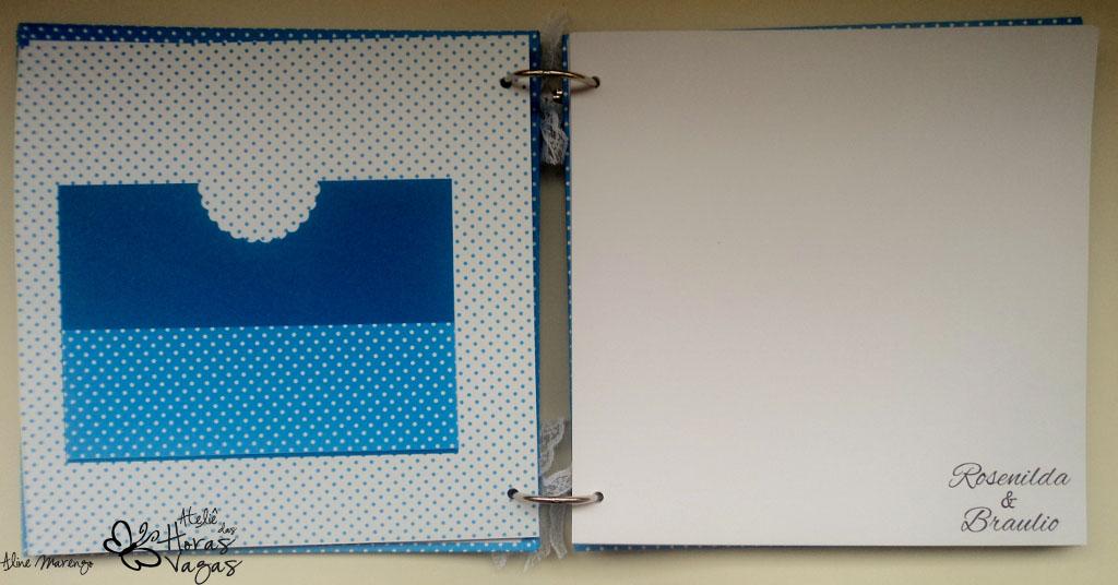 livro álbum mensagens recordação casamento aniversário azul e branco