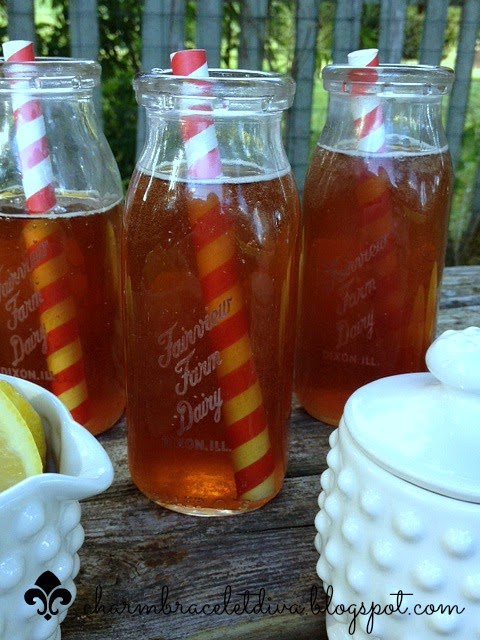 sun tea recipe in vintage milk bottles