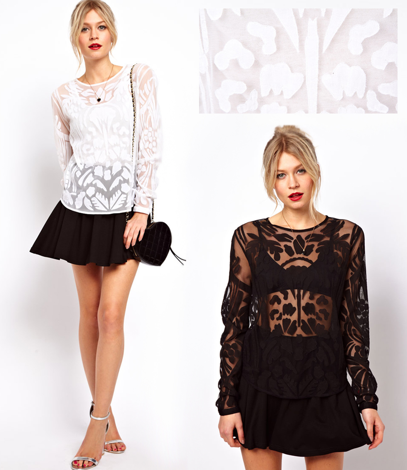 ASOS, ASOS Applique Top, going out top, what to wear on a date, date night clothing, pretty tops, monochrome trend