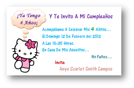 Hello Kitty Tarjetas Invitación Imagui
