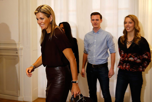 Queen Maxima of Netherlands visited the child care project 'Villa Pinedo' in Amsterdam,