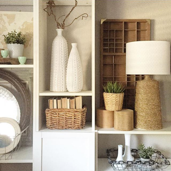 Style bookshelves with baskets