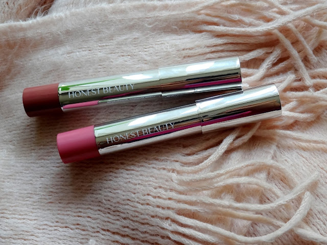 Honest Beauty Demi Matte Truly Kissable Lip Crayons in Peony Kiss and Marsala Kiss