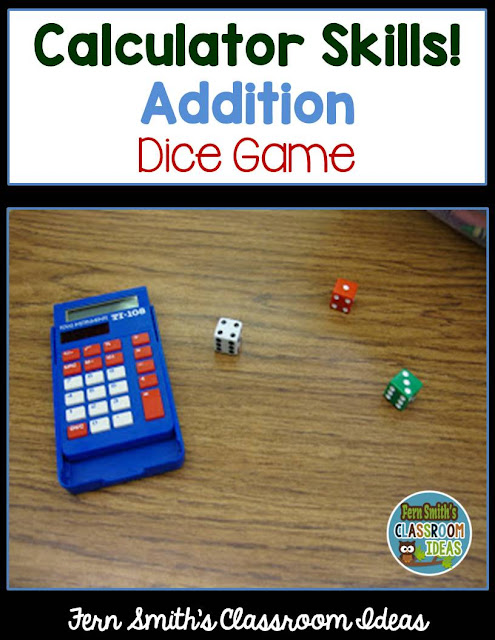 Fern Smith's Classroom Ideas Quick and Easy to Prep Dice Game for Multiplication or Addition!